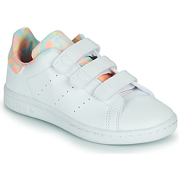 Shoes Girl Low top trainers adidas Originals STAN SMITH CF C White / Pink