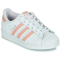 Shoes Girl Low top trainers adidas Originals SUPERSTAR C White / Pink