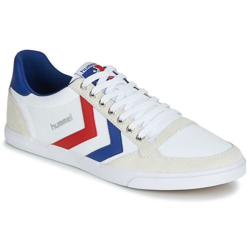 Shoes Low top trainers Hummel SLIMMER STADIL LOW White / Blue / Ribbon Red