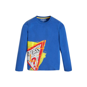 Clothing Boy Long sleeved tee-shirts Guess LISTIN Blue