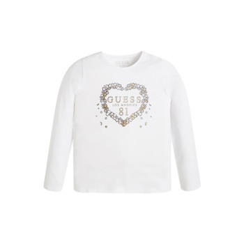 Clothing Girl Long sleeved tee-shirts Guess FEET White