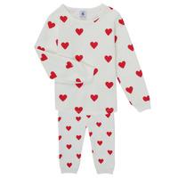 Clothing Girl Sleepsuits Petit Bateau CASSANDRE White / Red