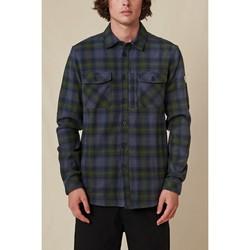 Clothing Men Long-sleeved shirts Globe Chemise  Wanderer Shacket bleu/vert
