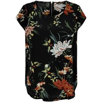 Clothing Women Tops / Blouses Only Haut femme  Vic manches courtes black flower aop