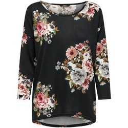 Clothing Women Long sleeved tee-shirts Only T-shirt femme  Elcos manches 4/5 black black flower print