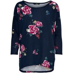 Clothing Women Long sleeved tee-shirts Only T-shirt femme  Elcos manches 4/5 night sky tinna flower