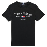 Clothing Boy Short-sleeved t-shirts Tommy Hilfiger YASSINE Black