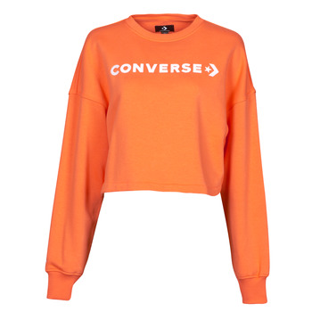 Clothing Women Sweaters Converse EMBROIDERED WORDMARK CREW Orange