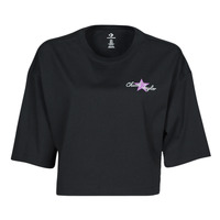 Clothing Women Short-sleeved t-shirts Converse CHUCK INSPIRED HYBRID FLOWER OVERSIZED CROPPED TEE Black
