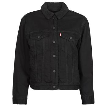 Clothing Women Denim jackets Levi's EX BF SHERPA TRUCKER Black