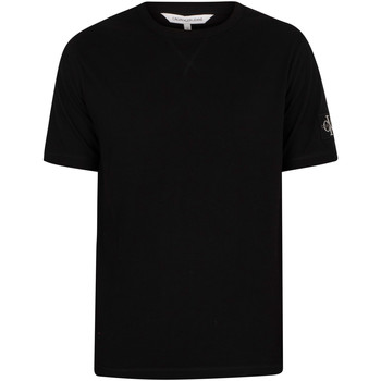 Clothing Men Short-sleeved t-shirts Calvin Klein Jeans Monogram Sleeve Badge T-Shirt black