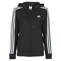 Clothing Women Sweaters adidas Performance W 3S FT FZ HD Black
