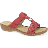 Shoes Women Mules Rieker Costa Womens Sandals red