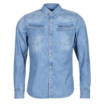 Clothing Men Long-sleeved shirts G-Star Raw 3301 SLIM SHIRT LS Blue