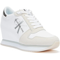 Shoes Women Low top trainers Calvin Klein Jeans Nylon Leather Wedge Womens White Trainers White