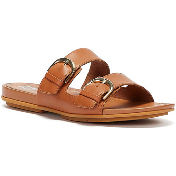 Shoes Women Mules FitFlop Gracie Buckle Leather Womens Light Tan Slides Tan