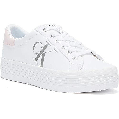Shoes Women Low top trainers Calvin Klein Jeans Vulcanised Flatform Nylon Womens White Tr White