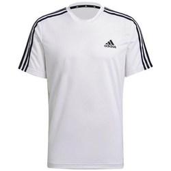 Clothing Men Short-sleeved t-shirts adidas Originals Aeroready Designed TO Move Sport 3STRIPES Tee White