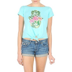 Clothing Women short-sleeved t-shirts Manoush TSHIRT TROPC HAMSA TURQUOISE
