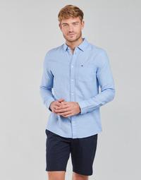 Clothing Men Long-sleeved shirts Tommy Jeans TJM LINEN BLEND SHIRT Blue