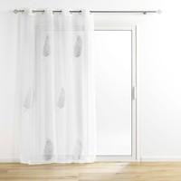 Home Sheer curtains Douceur d intérieur PALMEOR Silver