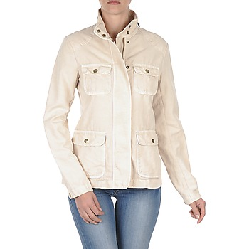Clothing Women Jackets Gant COTTON LINEN 4PKT JACKET Cream