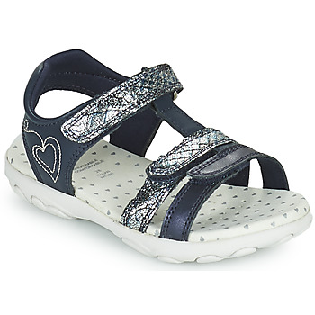 Shoes Girl Low top trainers Geox JR SANDAL CUORE Blue / Silver