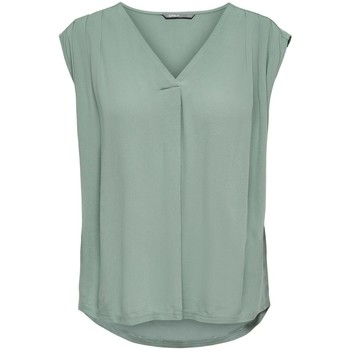 Clothing Women Tops / Blouses Only Haut femme  Roberta sans manches col V chinois green