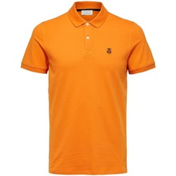 Clothing Men Short-sleeved polo shirts Selected Polo manches courtes  Aro embroidery russet orange