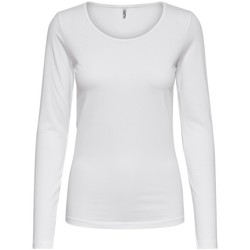 Clothing Women Long sleeved tee-shirts Only T-shirt femme  Live love life manches longues col rond white