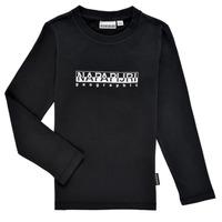 Clothing Boy Long sleeved tee-shirts Napapijri S-BOX LS Black