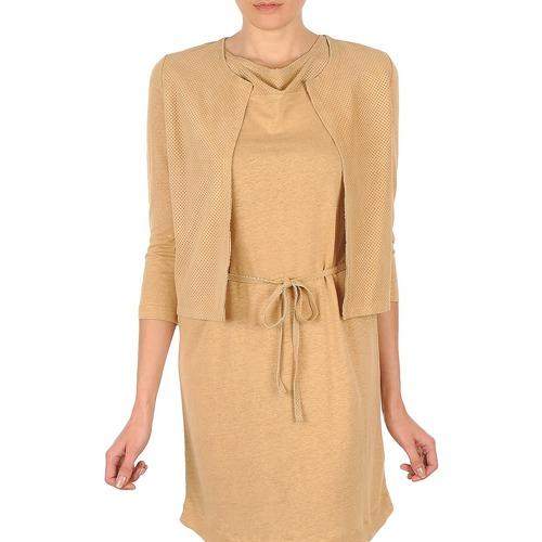 Clothing Women Jackets / Cardigans Majestic BERENICE Beige