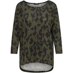 Clothing Women Long sleeved tee-shirts Only T-shirt femme  onlelcos 4/5 aops grape leaf black animal