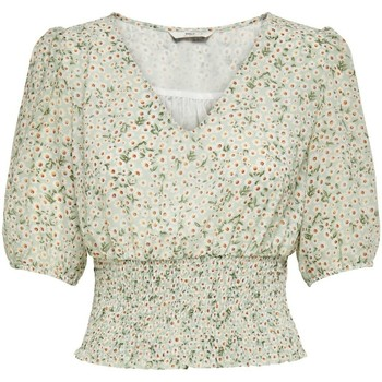 Clothing Women Tops / Blouses Only T-shirt femme  onlmille mini maria-flower smock chinois green daisy flowers