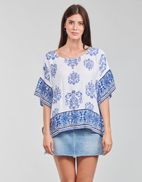 Clothing Women Tops / Blouses Desigual ANDES White / Blue