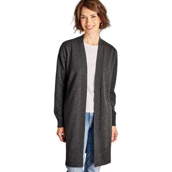 Clothing Women Jackets / Cardigans Woolovers Cashmere and Merino Edge to Edge Long Cardigan Dark Charcoal Brown