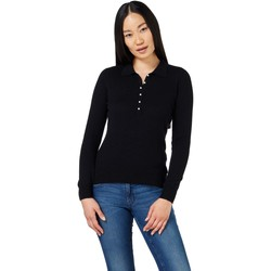 Clothing Women Long-sleeved polo shirts Woolovers Cashmere and Merino Knitted Polo Shirt Black Black