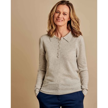 Clothing Women Long-sleeved polo shirts Woolovers Cashmere and Merino Knitted Polo Shirt Marble Grey