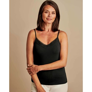 Clothing Women Tops / Sleeveless T-shirts Woolovers Lace Cami Black Black