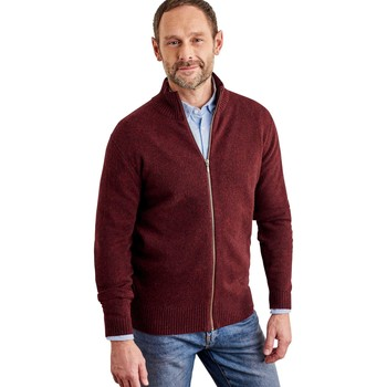 Clothing Men Jackets / Cardigans Woolovers Pure Lambswool Lincoln Zipper Cardigan Merlot Bordeaux