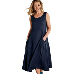 Clothing Women Long Dresses Woolovers Pocket Pinafore Dress Navy Blue