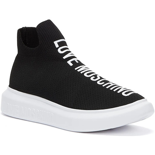 Shoes Women Hi top trainers Love Moschino Running Knit Womens Black Trainers Black