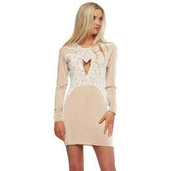 Clothing Women Short Dresses Holt Amber Nude With White Painted Detail Mini Dress Pink