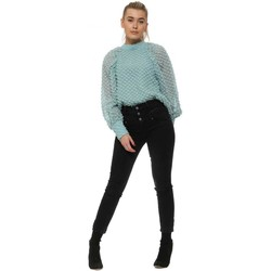 Clothing Women Tops / Blouses Golden Days Aqua Embroidered Spot Blouse Top Blue