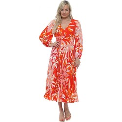 Clothing Women Long Dresses Traffic People Aurora Red Floral Pleated Dress Red