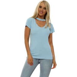 Clothing Women Tops / Blouses R&F Fashion Baby Blue Fine Knit Pearl Choker Top Blue