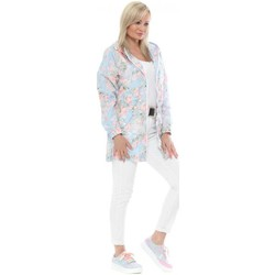 Clothing Women Jackets Boutique Baby Blue Floral Hooded Rain Mac Blue