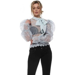 Clothing Women Tops / Blouses May By Shining Star Baby Blue Lace Puff Sleeve Pussy Bow Blouse Blue