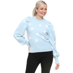 Clothing Women Jumpers Qed London Baby Blue Polka Dot Puff Sleeve Jumper Blue