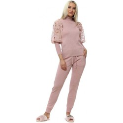 Clothing Women Tracksuits Foreva Young Baby Pink Crochet Puff Sleeve Knitted Co-Ord Pink